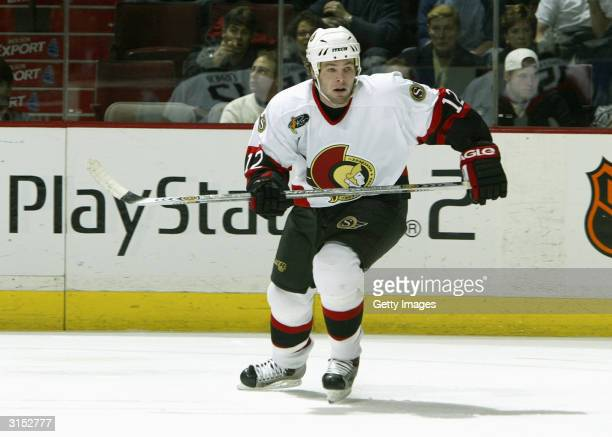 Center Mike Fisher of the Ottawa Senators skates on the ice during the game against the Montreal Canadiens at the Bell Centre on February 24 2004 in...