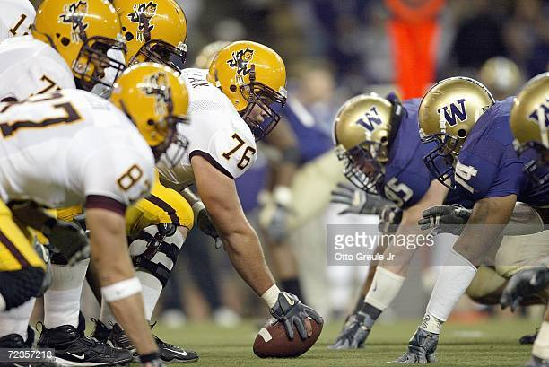 Center Mike Pollak of the Arizona State Sun Devils gets ready to hike the ball during the game against the Washington Huskies on October 28 2006 at...