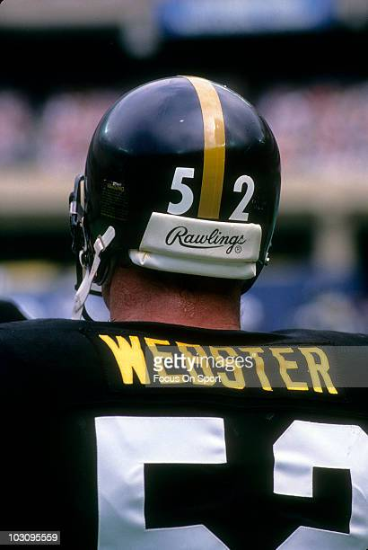 Center Mike Webster of the Pittsburgh Steelers in this portrait standing in the huddle October 15 1978 during an NFL football game against the...