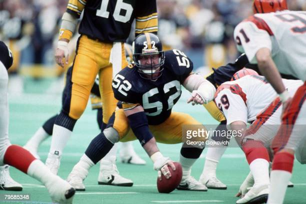 Center Mike Webster of the Pittsburgh Steelers looks across the line of scrimmage at the Cincinnati Bengals during a game at Three Rivers Stadium on...