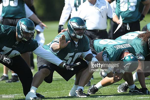 Center Nick Cole of the Philadelphia Eagles participates in drills during minicamp practice on April 30 2010 at the NovaCare Complex in Philadelphia...