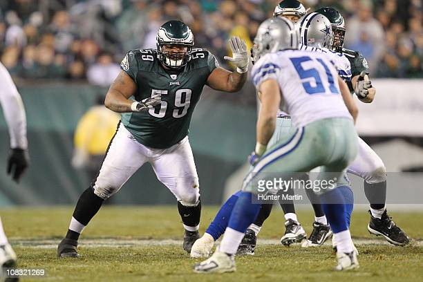 Center Nick Cole of the Philadelphia Eagles pass blocks during a game against the Dallas Cowboys at Lincoln Financial Field on January 2 2011 in...