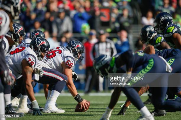 Center Nick Martin of the Houston Texans addresses the ball against the Seattle Seahawks at CenturyLink Field on October 29 2017 in Seattle Washington