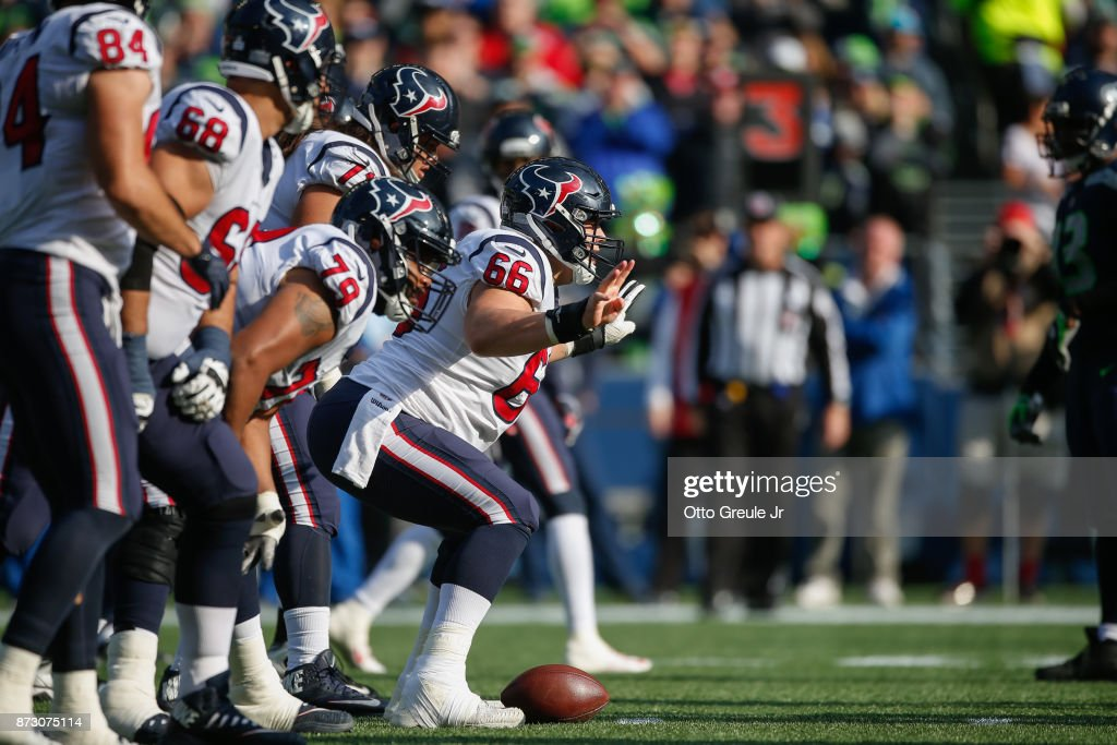 Center Nick Martin #66 of the Houston Texans addresses the ball against the Seattle Seahawks at CenturyLink Field on October 29, 2017 in Seattle, Washington.