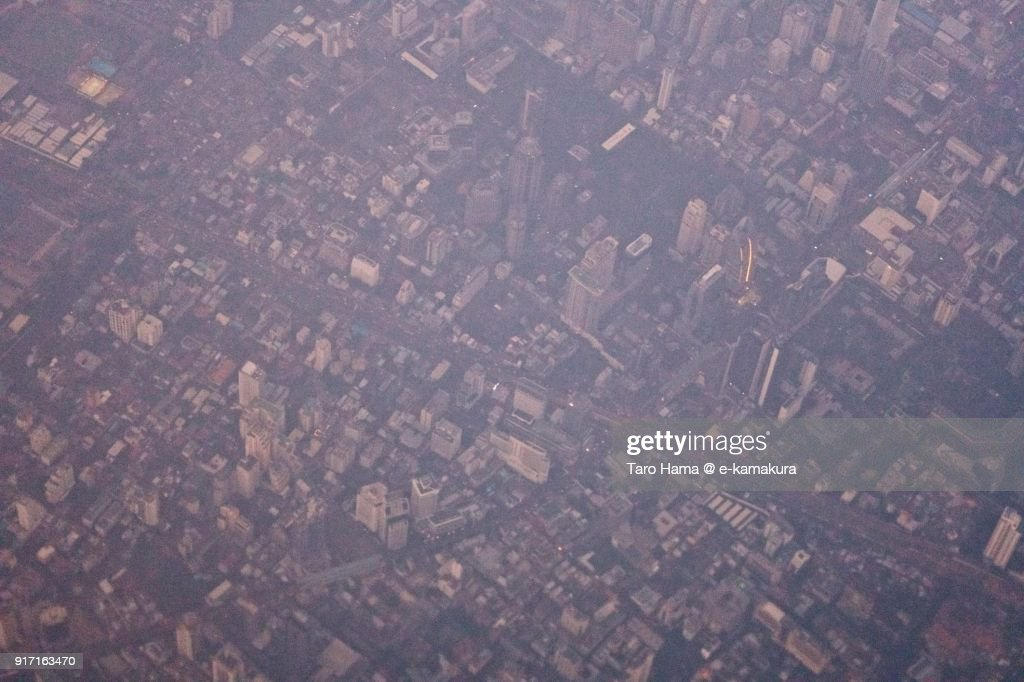 Center of Bangkok city in Thailand aerial view from airplane in the morning : ストックフォト
