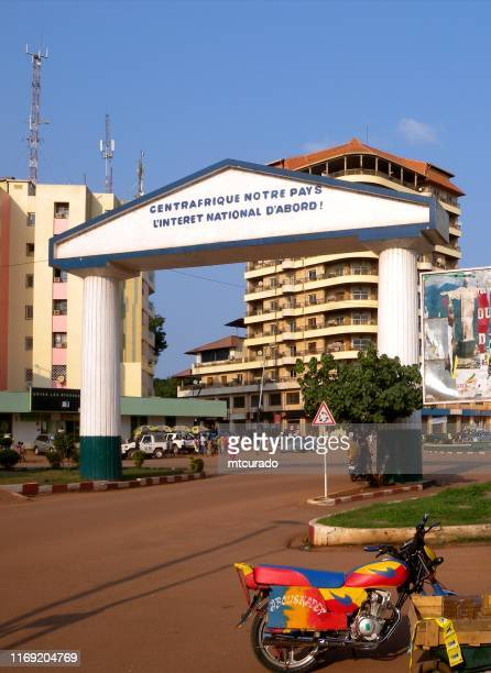 """center of bangui and of the central african republic, gate at """"point kilomètre zéro"""" pk0, the kilometer zero point - central african republic stock pictures, royalty-free photos & images"""