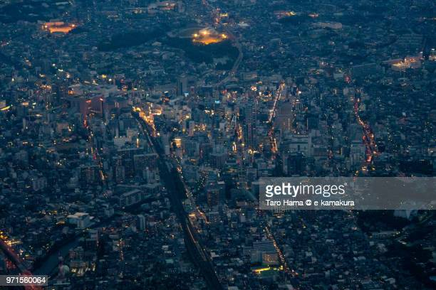 center of chiba city in japan twilight time aerial view from airplane - 千葉市 ストックフォトと画像