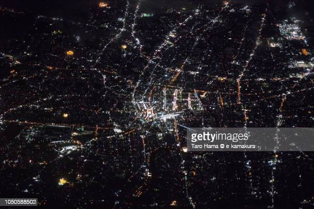 Center of Hamamatsu city in Shizuoka prefecture in Japan night time aerial view from airplane