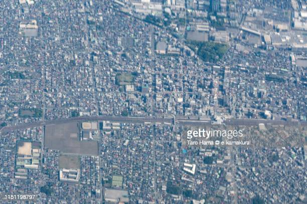 center of hiratsuka city in japan daytime aerial view from airplane - 平塚市 ストックフォトと画像