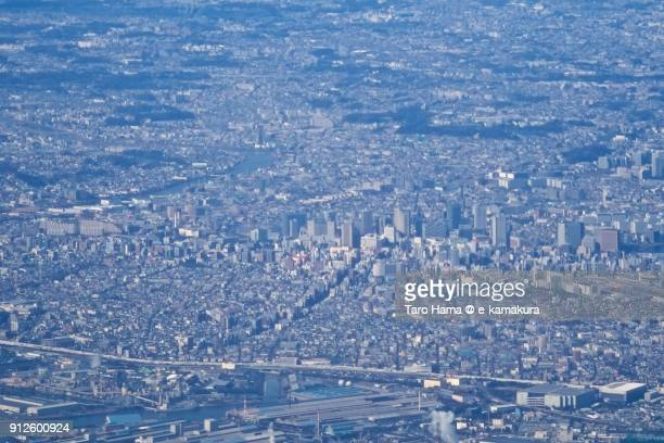 center of kawasaki city in kanagawa prefecture in japan daytime aerial view from airplane - 川崎市 ストックフォトと画像