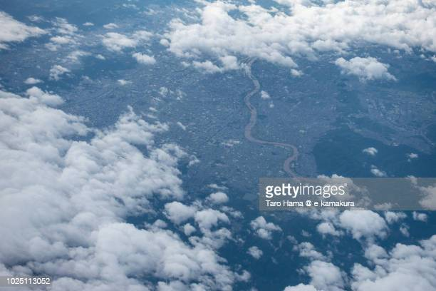 Center of Kyoto city in Kyoto prefecture in Japan daytime aerial view from airplane