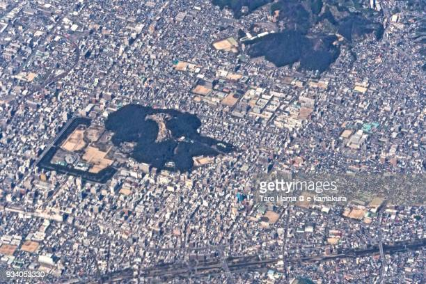 Center of Matsuyama city in Ehime prefecture in Japan daytime aerial view from airplane