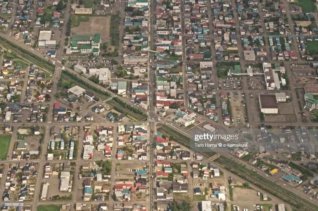 Center of Naganuma town in Hokkaido daytime aerial view from airplane : Stock Photo