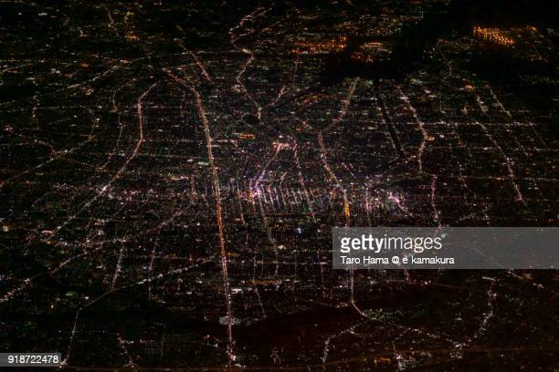 Center of Nagoya city in Aichi prefecture in Japan night time aerial view from airplane