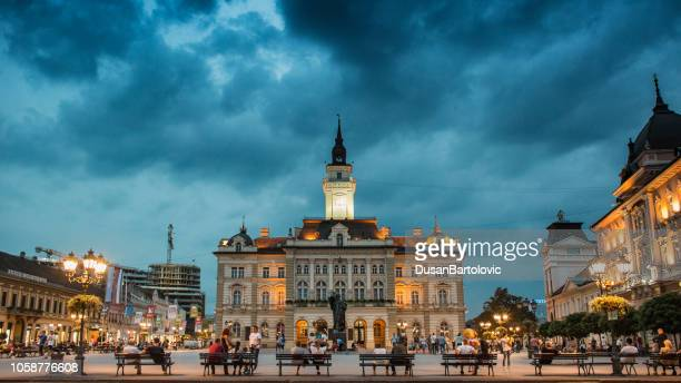 center of novi sad at evening - serbia stock pictures, royalty-free photos & images