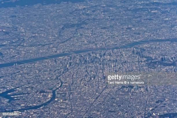 Center of Osaka city in Osaka prefecture in Japan daytime aerial view from airplane