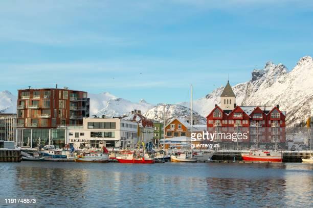 center of svolvær city, lofoten islands, norway - lofoten stock pictures, royalty-free photos & images