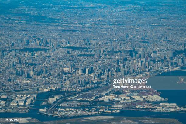 Center of Tokyo city daytime aerial view from airplane