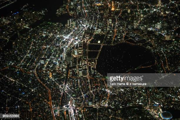 Center of Tokyo in Japan night time aerial view from airplane