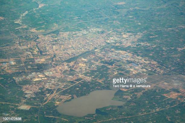 Center of Xiaogan City in Hubei Province in China daytime aerial view from airplane