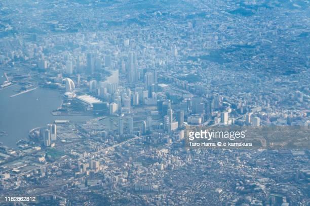 center of yokohama city and port of yokohama in kanagawa prefecture of japan aerial view from airplane - 横浜市 ストックフォトと画像