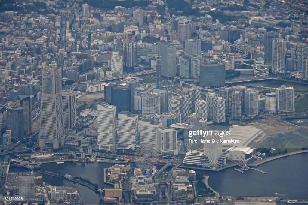 Center of Yokohama city, Minatomirai District in Yokohama city daytime aerial view from airplane : ストックフォト