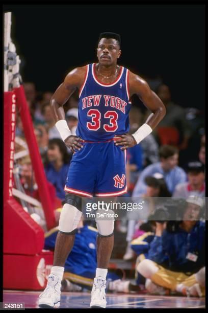 Center Patrick Ewing of the New York Knicks looks on Mandatory Credit Tim de Frisco /Allsport