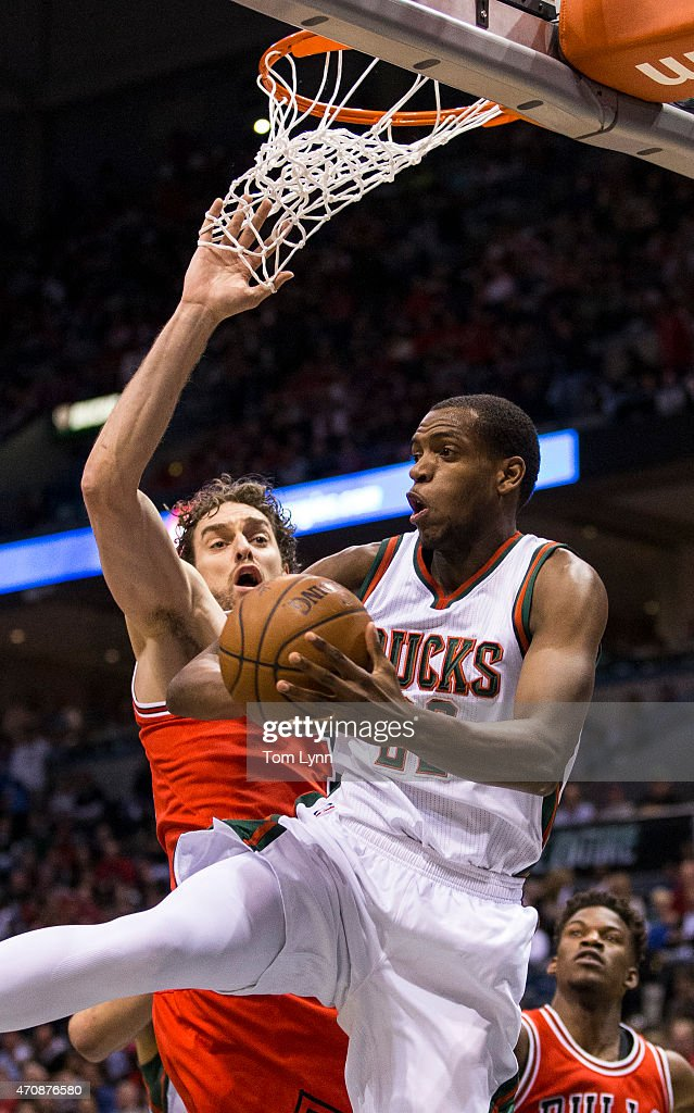 Center Pau Gasol #16 of the Chicago Bulls defends against forward Khris Middleton #22 of the Milwaukee Bucks in the first quarter during during game three of the first round of the 2015 NBA Playoffs April 23, 2015 at the Bradley Center in Milwaukee, Wisconsin.