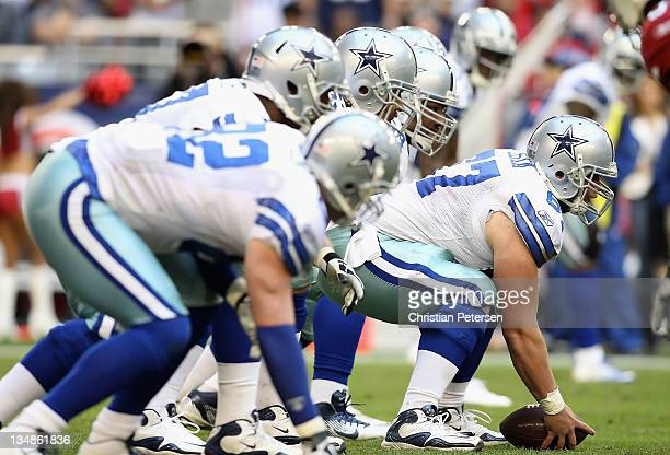 Center Phil Costa of the Dallas Cowboys prepares to snap the football during the NFL game against the Arizona Cardinals at the University of Phoenix...