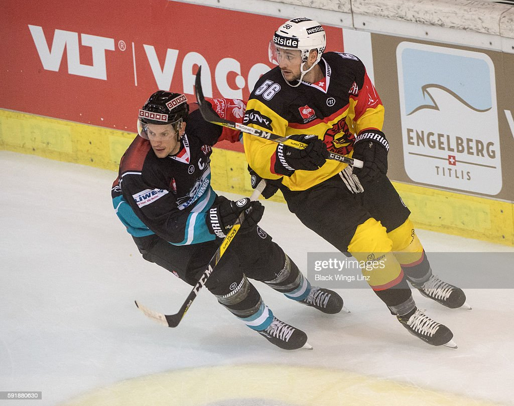 Center Philipp Lukas Of Black Wings Linz And Defensman Maxim Noreau