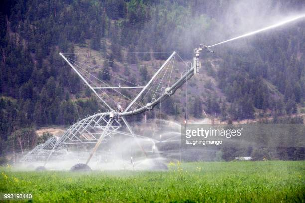center pivot irrigation equipment - kamloops stock pictures, royalty-free photos & images