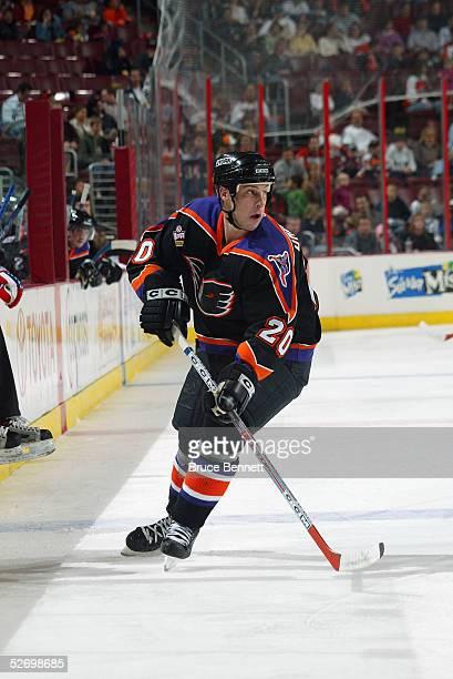 Center RJ Umberger of the Philadelphia Phantoms skates on the ice during an AHL game on October 22 2004 against the Hamilton Bulldogs The Phantoms...