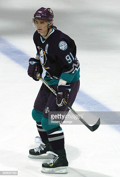 Center Sergei Fedorov of the Mighty Ducks of Anaheim skates on the ice during the game against the Minnesota Wild at the Arrowhead Pond of Anaheim on...