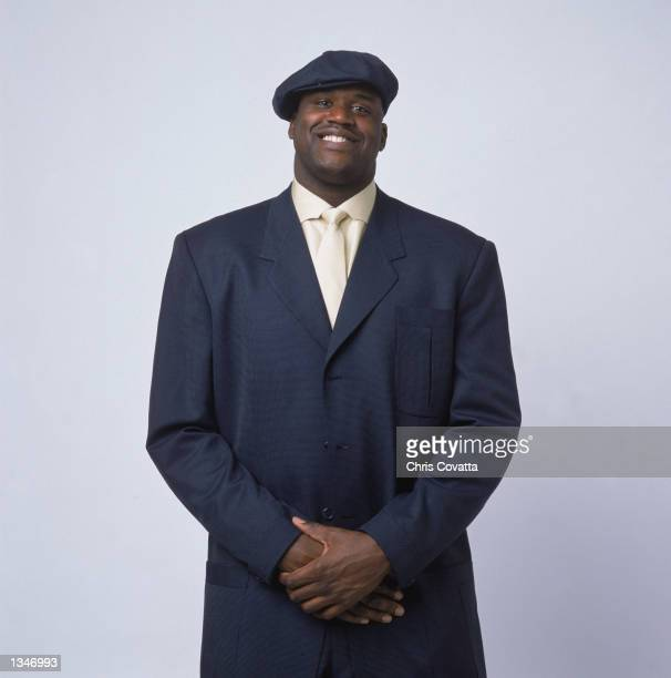 Center Shaquille O'Neal of the Los Angeles Lakers poses for a studio portrait before the 2002 NBA All Star Game on February 2 2002 in Philadelphia...