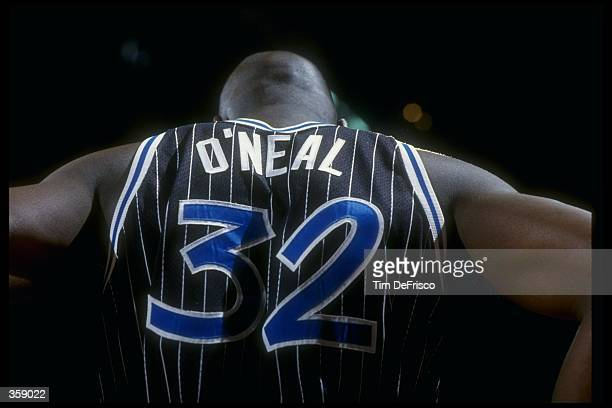 Center Shaquille O''Neal of the Orlando Magic looks on during a game against the Denver Nuggets at McNichols Arena in Denver Colorado Mandatory...