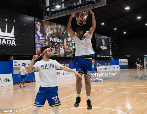 Center Sim Bhullar of Yulon Luxgen Dinos practice prior to the SBL Finals Game One between Taiwan Beer and Yulon Luxgen Dinos at Hao Yu Trainning...