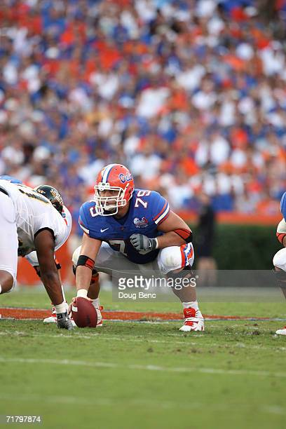 Center Steve Rissler of the University of Florida Gators prepares to snap the ball during the game against the Southern Miss Golden Eagles at Ben...