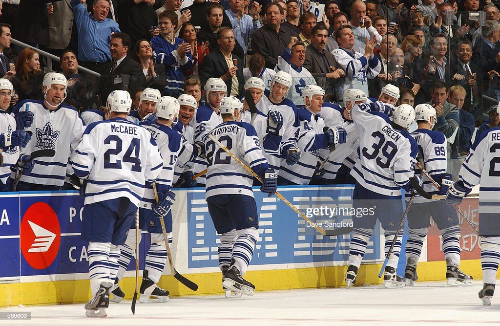 Center Travis Green #39 and the Toronto Maple Leafs celebrate during game 7 of the Eastern Conference Semifinals of the NHL Stanley Cup Playoffs against the Ottawa Senators at Air Canada Centre in Toronto, Ontario, Canada on May 14, 2002. The Maple Leafs won 3-0.
