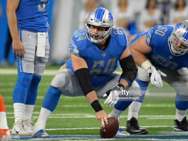 Center Travis Swanson of the Detroit Lions looks toward the defense as he awaits the snap call in the third quarter of a game on November 12, 2017...