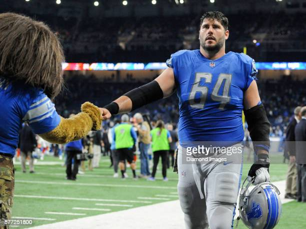 Center Travis Swanson of the Detroit Lions walks off the field after a game on November 12, 2017 against the Cleveland Browns at Ford Field in...