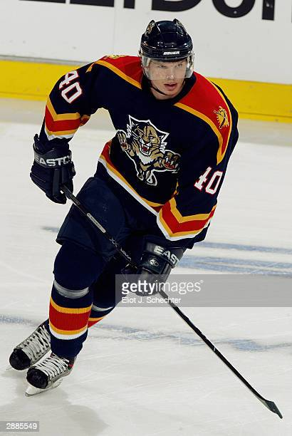 Center Vaclav Nedorost of the Florida Panthers in action against the Boston Bruins on December 10, 2003 at the Office Depot Center in Sunrise,...