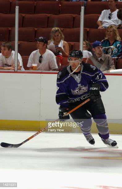 Center Yanick Lehoux of the Los Angeles Kings skates on the ice before the preseason NHL game against the Anaheim Mighty Ducks at the Arrowhead Pond...