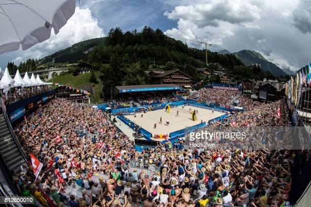 Centercourt Overview seen during the third stage of the Swatch Beach Volleyball Major Series 2017 on July 8, 2017 in Gstaad, Switzerland.