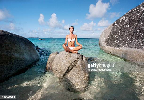 centered meditate - see through knickers stock photos and pictures