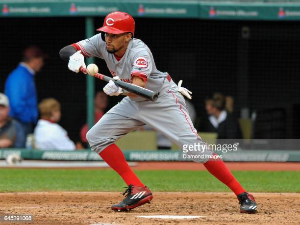 Centerfielder Billy Hamilton of the Cincinnati Reds bunts the ball during a game against the Cleveland Indians on May 17, 2016 at Progressive Field...