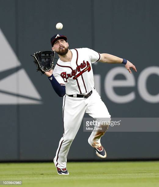 Centerfielder Ender Inciarte of the Atlanta Braves catches a fly ball in the fifth inning during the game against the Pittsburgh Pirates at SunTrust...