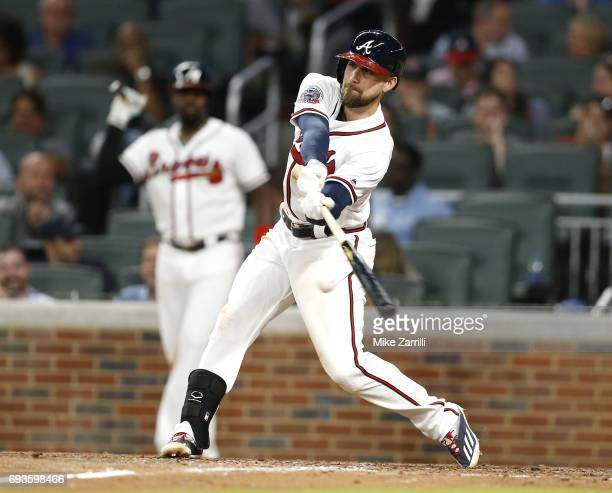 Centerfielder Ender Inciarte of the Atlanta Braves hits an RBI single in the seventh inning during the game against the Philadelphia Phillies at...