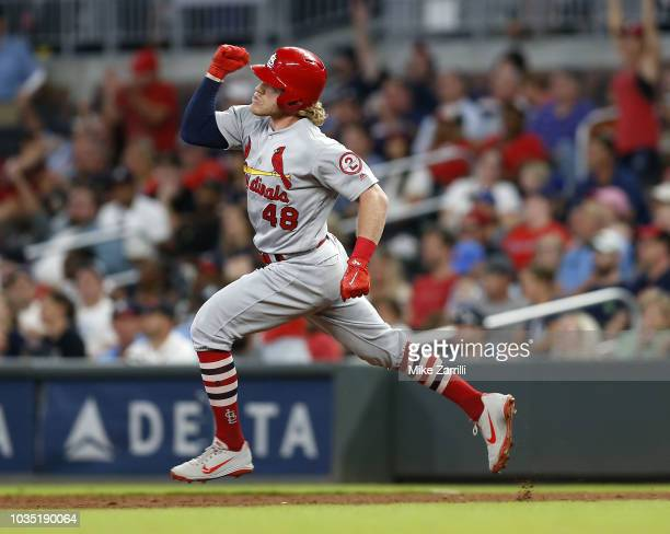 Centerfielder Harrison Bader of the St Louis Cardinals gestures after hitting a 3run home run in the eighth inning during the game against the...