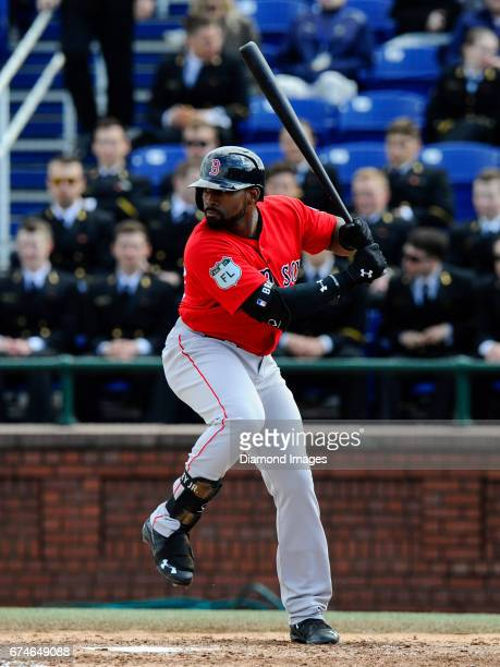 Centerfielder Jackie Bradley Jr #19 of the Boston Red Sox bats during the Naval Academy Baseball Classic game on April 1 2017 against the Washington...