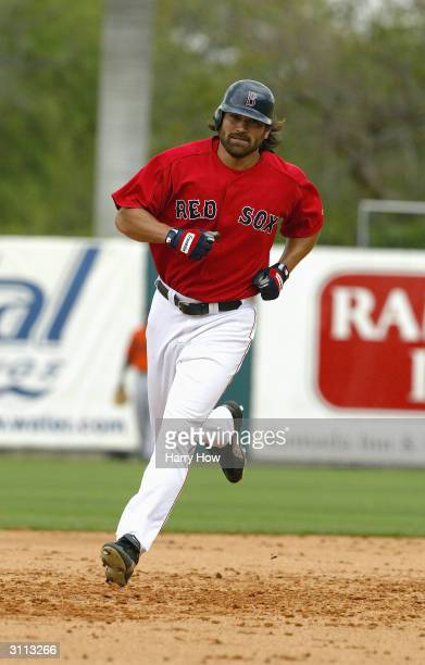 Centerfielder Johnny Damon of the Boston Red Sox runs the bases during the Spring Training game against the Baltimore Orioles at City of Palms Park...